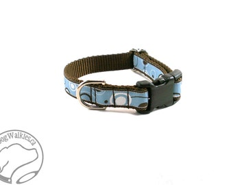 """Light Blue and Chocolate Circles Dog Collar / 3/4"""" Wide (19mm) / Side Release or Martingale / Choice of collar style and size"""