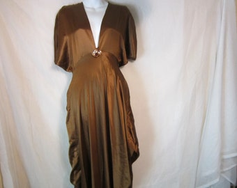 80's Brown Silky Long Stylish Evening Dress