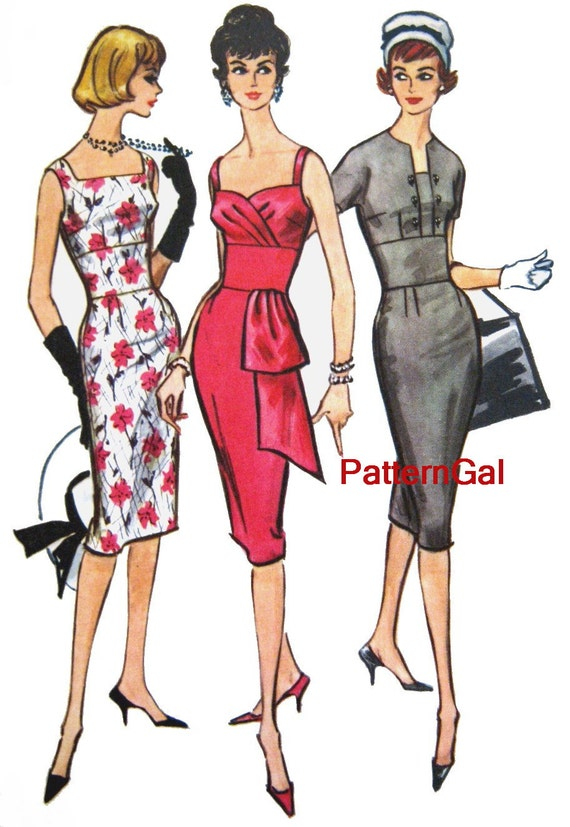 vintage 1950s wiggle dress sewing pattern 3 styles sizzling