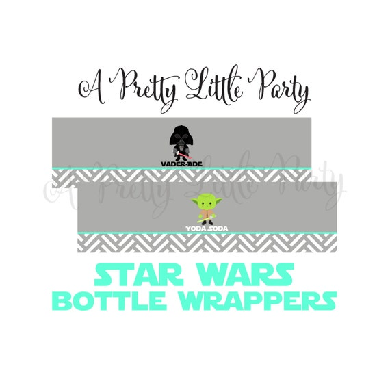 Star Wars Bottle Wrappers in bright aqua  - Digital files - Party Supplies - INSTANT DOWNLOAD