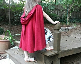 Little Red Riding Hood Traveler / Fellowship Hobbit Lord of the Rings inspired Fancy microsuede Children's Cape Cloak - Elf Hobbit 27""