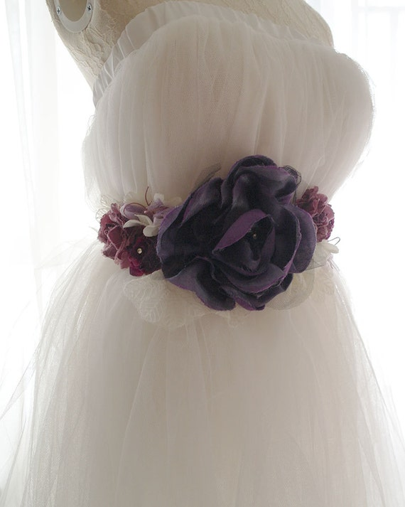Lace Flower Rose Belt Obi Sash Purple Burgundy White Romantic Rosettes Pearl French Country Shabby Chic Goth Gothic Steampunk Accessories