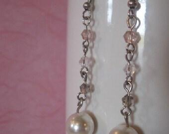 White pearl dangle earrings