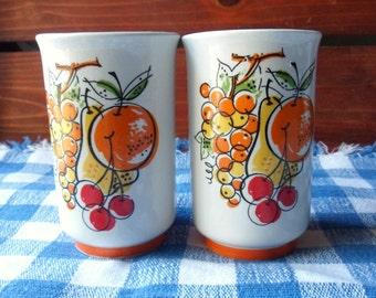 Retro Juice Glasses, Napco Ceramic Beverage Glasses, Small Glasses with Orange and Yellow Fruit