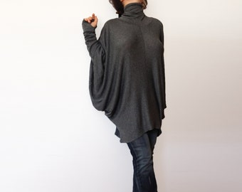 Oversize Blouse Turtle Neck Top Loose Sweater Thumb Holes Tunic Loose Blouse Long Batt Sleeves Wide Woman Tunic Charcoal Grey Woman Pullover