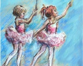 Ballet, Ballerina, dancing,Nursery Art, print  Girls,  Reproduction, Children, blue, Laurie Shanholtzer