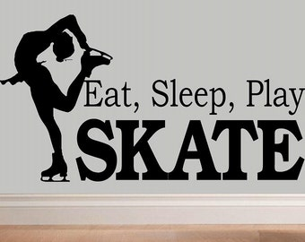 Eat sleep play Skate decal wall decal WD kids kids decor nursery decal sport decal girl decal home decor ice skating wall decal living room