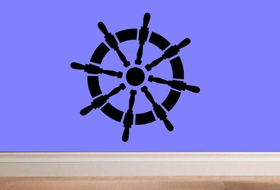 Wall decal Nautical ship wheel decor