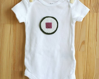 Baby Sushi Shirt, Felt Applique Design Maki Roll Baby Bodysuit, Cute Baby Clothes, Hipster Baby Clothing