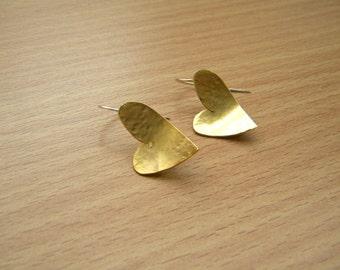 Gold heart earrings ,heart dangle earrings, gold plated heart earrings, for her, valentine's gift
