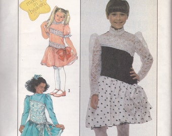 Girls' 80s Party Dress Pattern Simplicity 8962 Size 10  Uncut