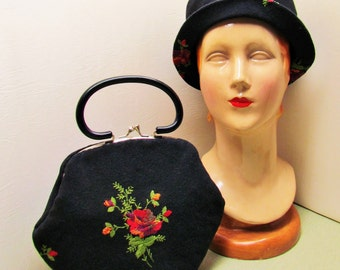 Vintage matching hat and purse, 1960's embroidered black wool hat and purse set