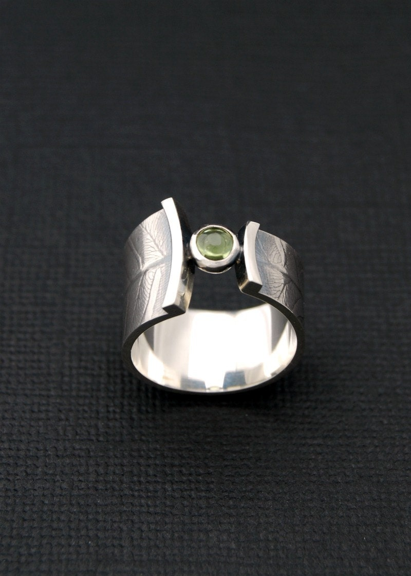 Fern Wrap Ring Sterling Silver Band With Peridot
