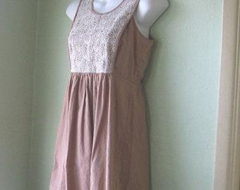 Lacy Bodice Cappuccino-Brown Dress; Large Girl's or XS Women's~Sleeveless Tan Cotton Boho Mini; Free Shipping/U.S.