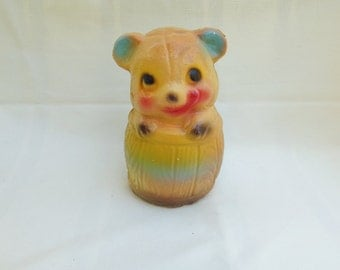 Chalkware Bear in Barrel Carnival Prize Collectible Faux Animal Bank