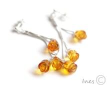 Baltic Amber Dangle Earrings,Rose Earrings