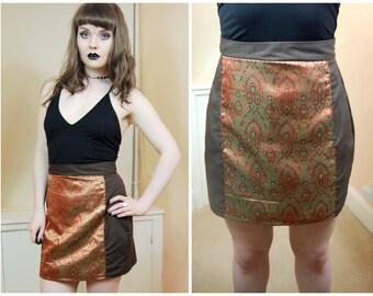 SALE 90s Boho Hippy Festival Brown Gold Paisley Indian Pattern High Waist A Line Mini Skirt S