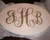 Beautiful Glitter Monogram Round Canvas - great for guest signatures!
