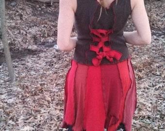 SALE-Upcycled Tattered Pixie Patchwork Sleeveless Corset Dress