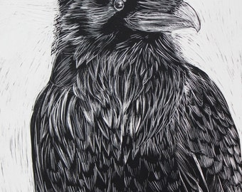 Crow Original Drawing on Scratchboard Black and White, 5 x 7