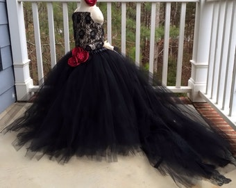 Flower Girl Floor Length Sewn Tutu Dress Champagne and Black Satin Corset Top with Lace Overlay and Straps and Detachable Train CUSTOMIZABLE