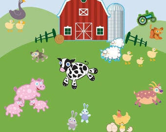 Fun Farm Animal Wall Decals for Kids Room Mural