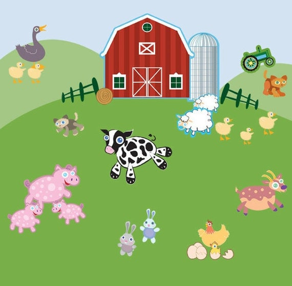 Fun farm animal wall decals for kids room mural for Barnyard wall mural