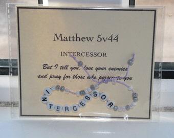 Bible verse bracelets INTERCESSOR Matthew 5v44 - ready to ship