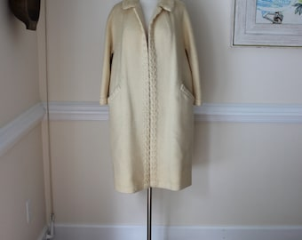Cream Wool Coat, XL, Large, Vintage Wool Coat