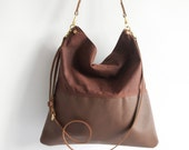 Brown Leather and Brown Waxed Canvas Tote Bag - HARRIS -  Adjustable Leather Shoulder Bag Leather Shopper Work Bag