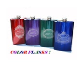 8 oz COLOR Engraved FLASK Stainless Steel high gloss Engraved Custom Personalized ENGRAVED  Photo Engraved