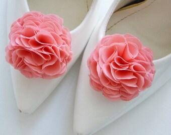 Coral Wedding Flower Shoe Clips - Shoe Clip - Bridal Flower for Shoe - Chiffon Flower - Bridesmaid - Shoe and Shoe Clips - Shoe Accessories