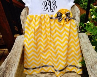 Yellow and Black Onesie Dress with Monogram and Bow Accent with Bee