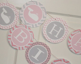 SWEET WHALE Party Happy Birthday or Baby Shower Party Banner - Party Packs Available
