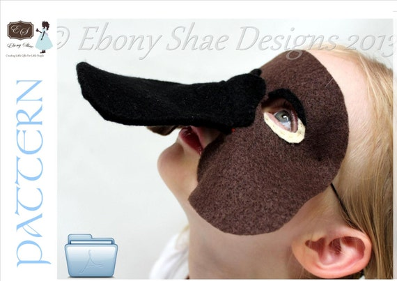 Australian Platypus Mask PATTERN. Digital Sewing Pattern- Kids Platypus Costume