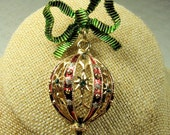 Vintage Enamel and Rhinestone Ornament and Bow Brooch