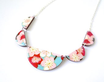 Turquoise and Red Necklace, Scalloped Necklace, Cherry Blossoms, Bunting Necklace, Laser Cut, Japanese Paper, Washi, Origami, Gift under 50
