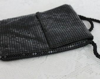 Vintage 70s Black Mesh Small Shoulder Bag/ Disco Purse