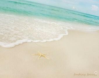 Beach Photography, Aqua Blue Water Sand & Starfish, Turquoise Mint Waves Cream Tan Star Fish Beachy Ocean Cottage Print, Seaside 8x10 Photo