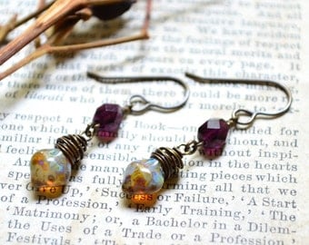 Deep Purple and Wrapped Copper Marble Drop Earrings in Czech Glass and Brass