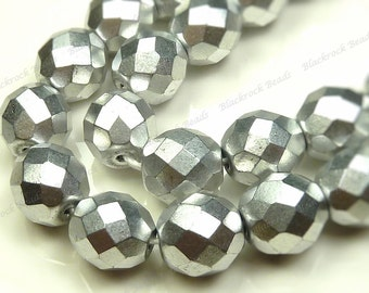 4mm Silver Faceted Round Czech Glass Beads - 16 Inch Strand (100pcs) - Fire Polished Glass, Satin Sheen Finish - BD7