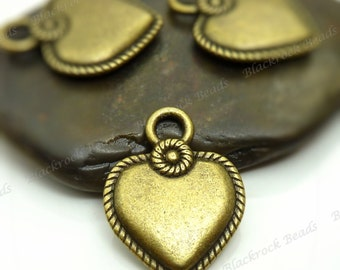 Bulk 18 Heart Shaped Charms (Double Sided) 22x17mm Antique Bronze Tone Metal - Heart Pendants, Rope Edge Pattern - BA2