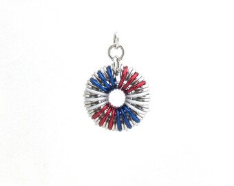 Patriotic Pendant, Chain Maille Pendant, American Jewelry, Jump Ring Jewelry
