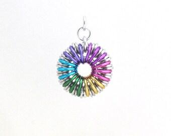 Rainbow Pendant, Chain Maille Pendant, Multicolor Aluminum Jump Ring Jewelry