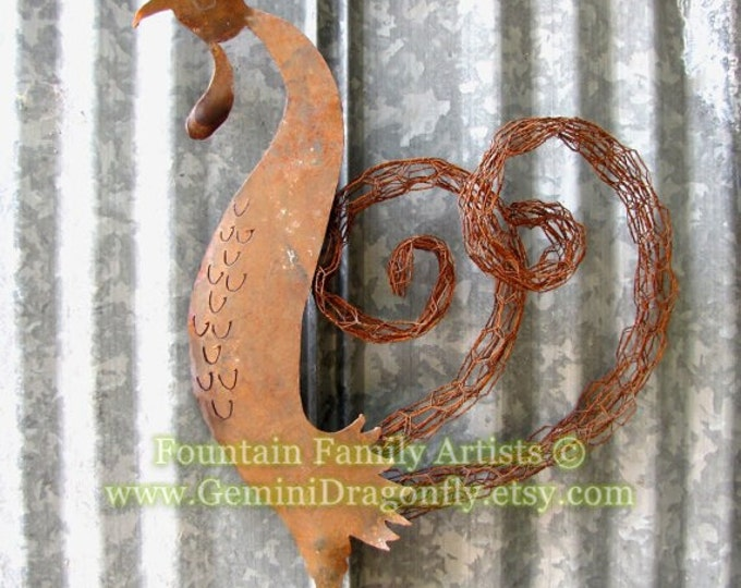 Chicken Garden Art from Recycled Rusty Metal by Fountain Family