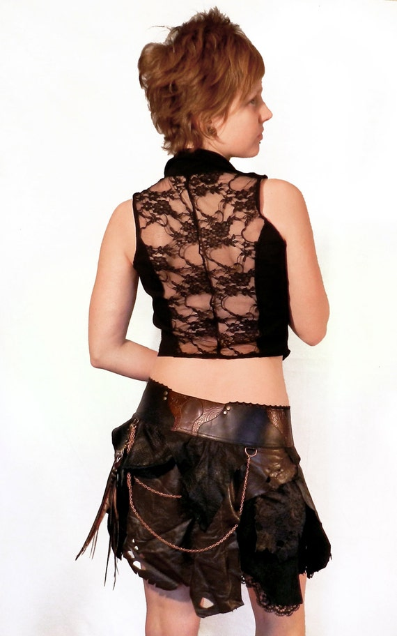 Custom Tribal leather tattered wrap skirt with chains and feather clip - MADE TO ORDER