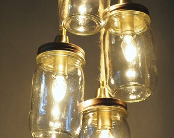 4 Light Mason Jar Chandelier, Copper Hardware and Clear Glass Jars