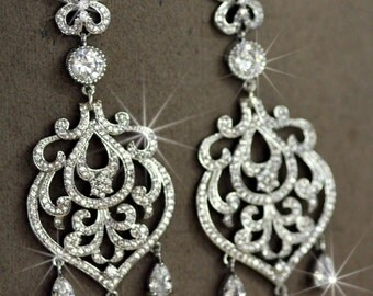 Vintage Style- Rhodium Plated-Micro Pave-Swiss Zircon-Elegant-Bridal Earrings-Wedding Jewelry-C