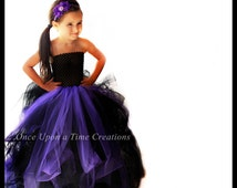 Ready To Ship Couture Witch Tutu Dress - Little Girls Size 6 12 Months 2T 3T 4T 5T 6 7 8 10 12 - Dark Sea Monster Vampire Pageant Gown