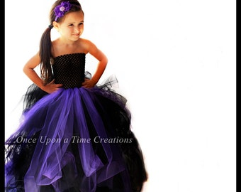 full length long witch tutu dress black purple little girls size 6 12 months 2t